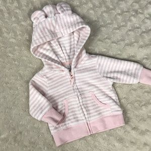 Carter's Terry Cloth Hooded Jacket Pink Stripes NB